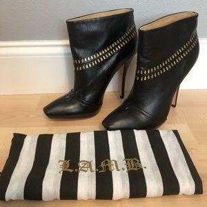 L.A.M.B Jaycee black leather booties